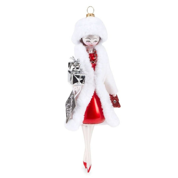 Art Glass Lady Ornament with Christmas Presents
