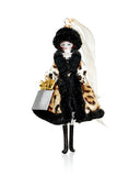 Art Glass Shopping Lady Ornament in Leopard Coat
