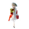 Art Glass Lady Ornament in Red with Gifts