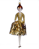 Art Glass Lady Ornament in Gold Dress