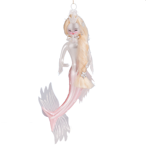 Art Glass Pink Mermaid Lady Ornament