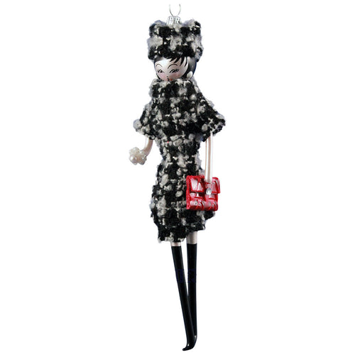 Art Glass Lady Ornament in Houndstooth Outfit