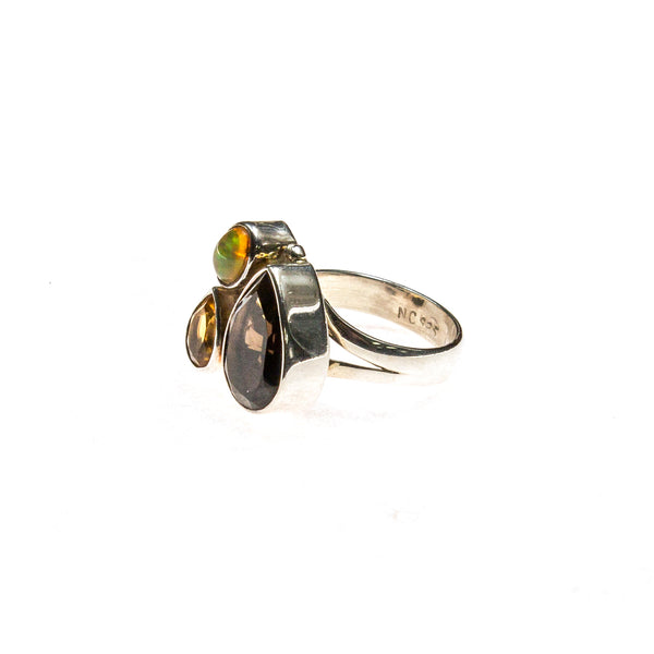 SS Smokey Quartz, Citrine & Ethiopian Opal Adjustable Ring