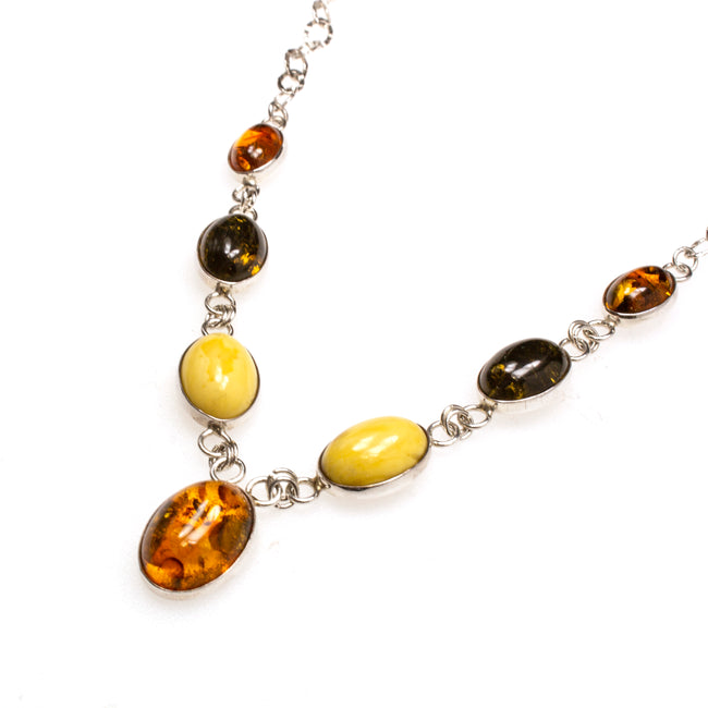 SS Multi-colored Amber Oval Link Necklace