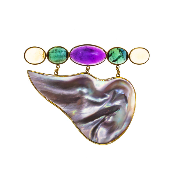 18K Blister Mabe Pearl Amethyst Green Tourmaline Citrine Pin