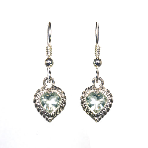 Sterling Silver Green Amethyst Heart Earrings
