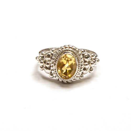 SS Citrine Oval w/ Rope & Tri Flower Ring Size 6.75