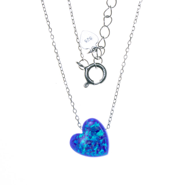 Sterling Silver Created Opal Heart Necklace