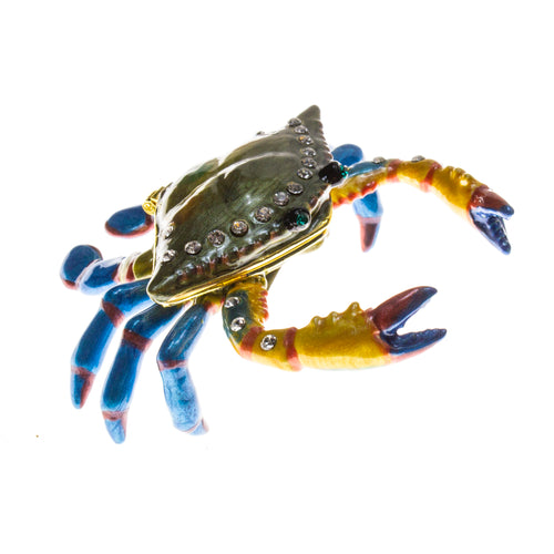 Colorful Crab Cloisonné Box with Matching Necklace