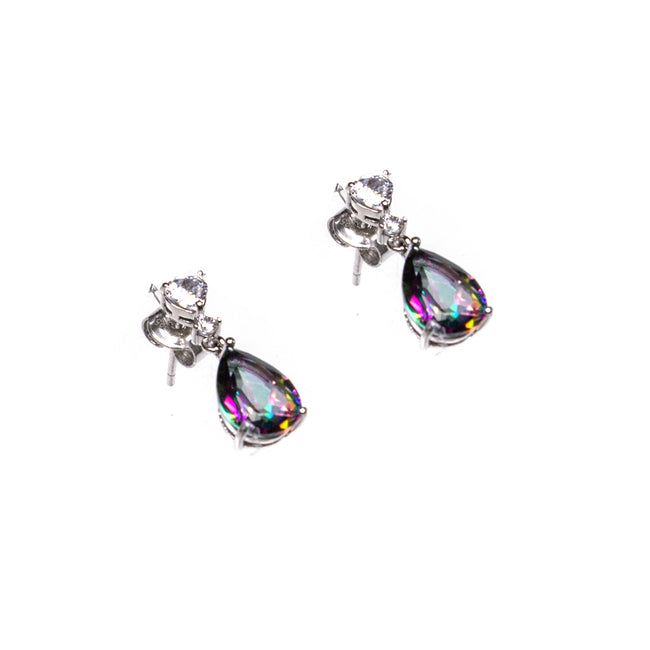 SS Mystic Topaz Pear and CZ Heart Drop Earrings