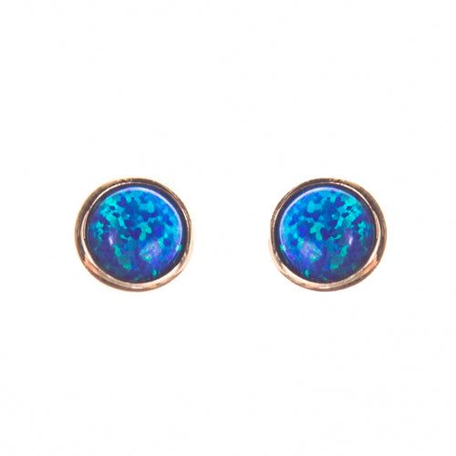 14K Created Opal 5mm Round Stud Earrings