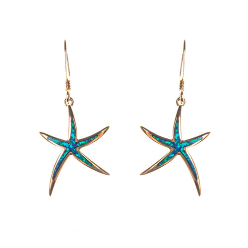 14K Created Opal Starfish Inlay Earrings