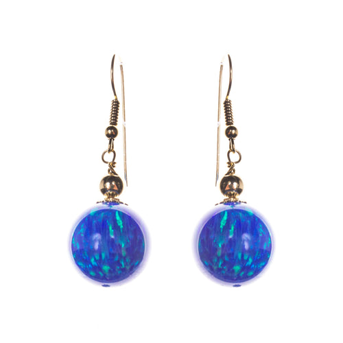 14K Created Opal 14mm Ball Earrings
