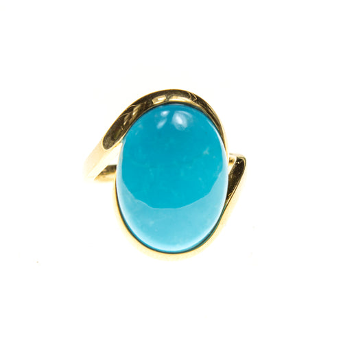 14K Gold Sleeping Beauty Turquoise Ring