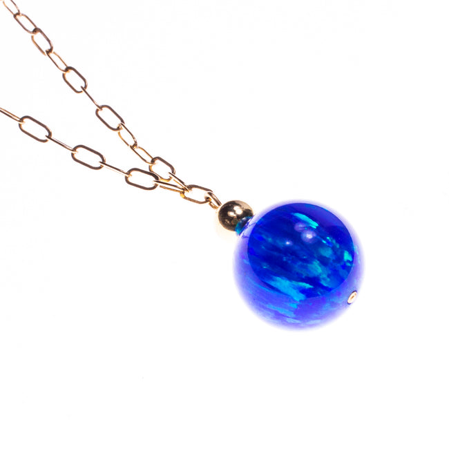 14K Created Opal 14mm Ball Necklace