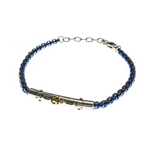 Stainless Steel Anchor Blue Bracelet