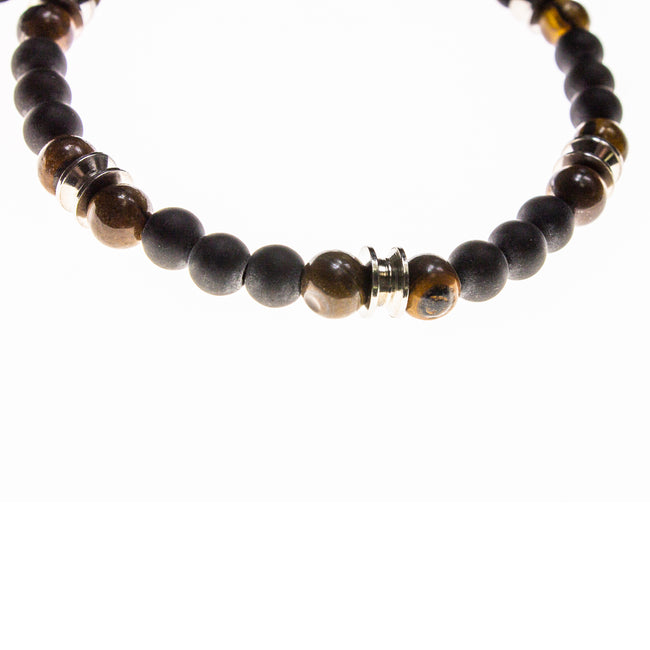 Matte Tigers Eye and Onyx Beaded Bracelet