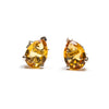 SS Created Citrine Pear Stud Earrings