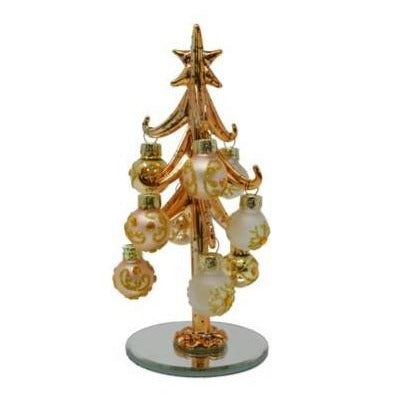 "6"" Metallic Gold Glass Christmas Tree w/ 9 Ornaments"