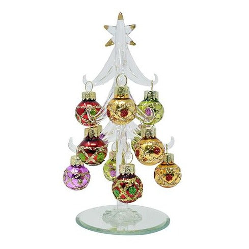 "6"" Glass Christmas Tree w/ 12 Ornaments in Red, Green, Gold, & Purple"