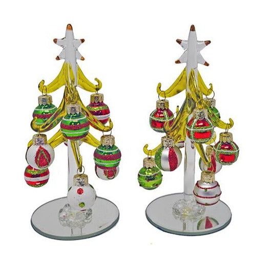 "6"" Classic Colors Glass Christmas Tree w/ 9 Ornaments"