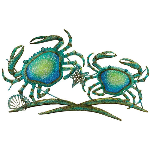Blue Crabs Metal and Fused Glass Wall Art