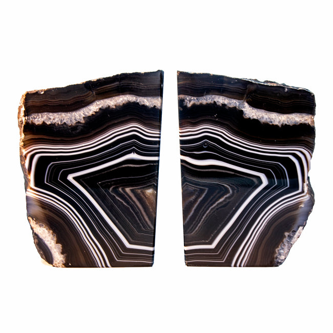 Agate Bookends Black & White