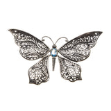 Large Sterling Silver Blue Topaz Butterfly Pendant