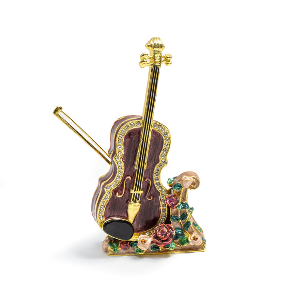Cloisonne Box Cello with Matching Necklace