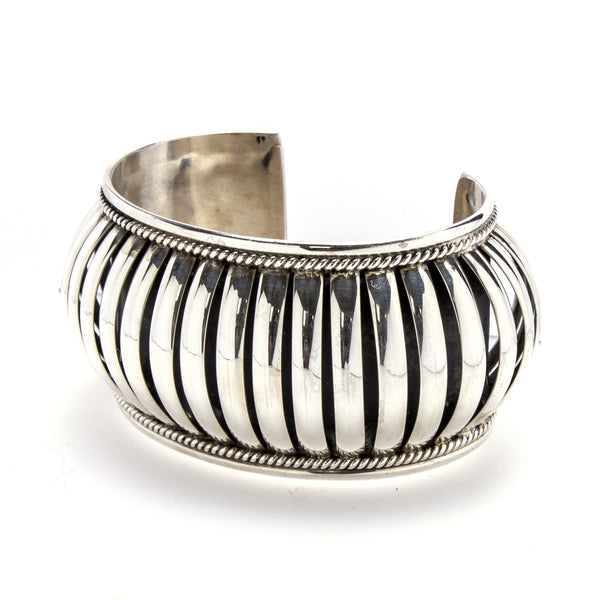 Sterling Silver Bar Dome Cuff Bracelet