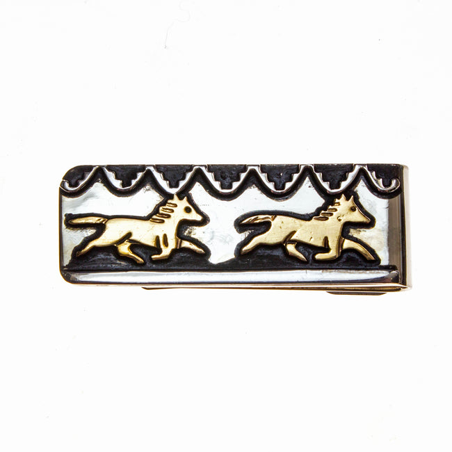 Nickel Gold Plated Running Horses Money Clip