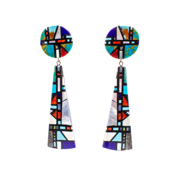Sterling Silver Turquoise Mother of Pearl Geometric Drop Earrings