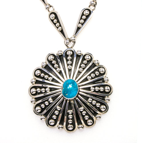 Sterling Silver Turquoise Flower Necklace