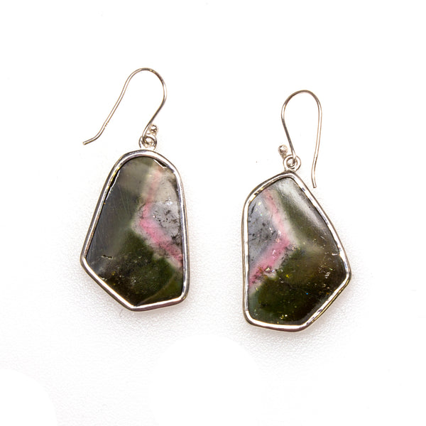 SS Watermelon Tourmaline Slice Earrings