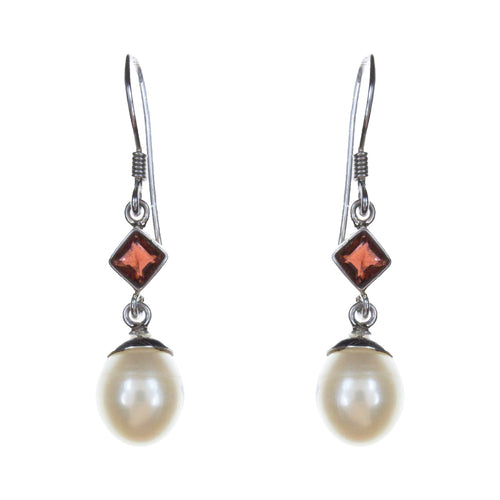 Sterling Silver Pearl Garnet Earrings
