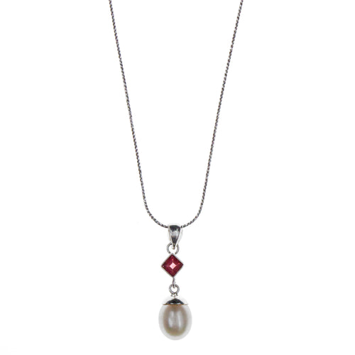 Sterling Silver Pearl Garnet Necklace