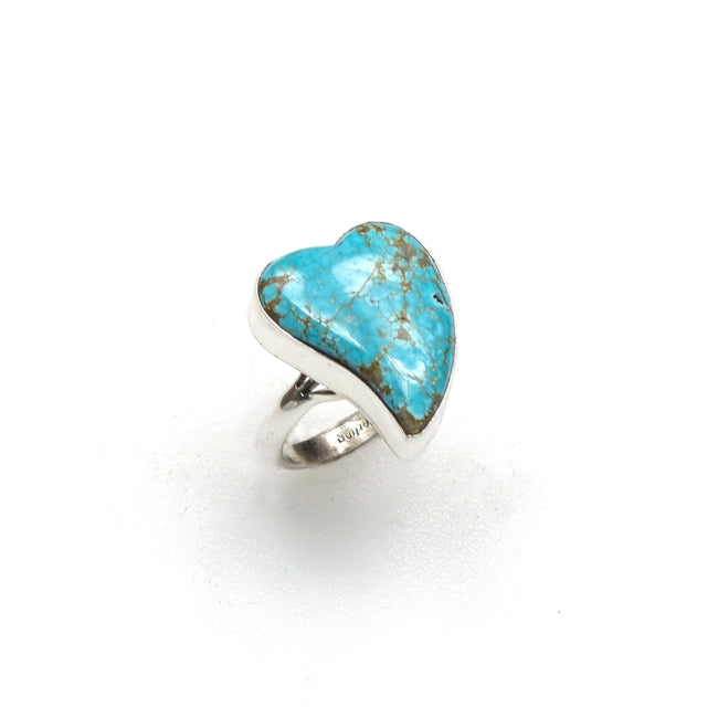 SS Royston Turquoise Curved Heart Ring (Size 8)