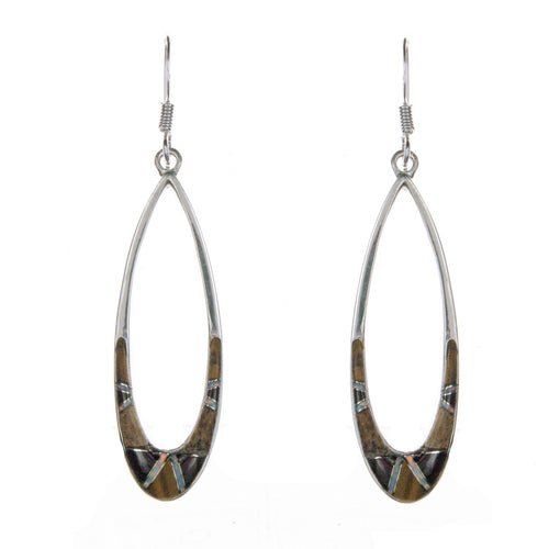 Sterling Silver Inlay Oval Earrings
