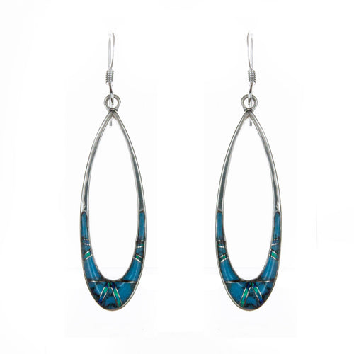 Sterling Silver Inlay Turquoise Earrings