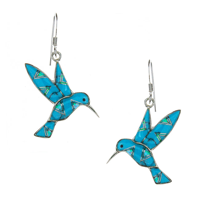 Sterling Silver Inlay Turqouise Hummingbird Earrings