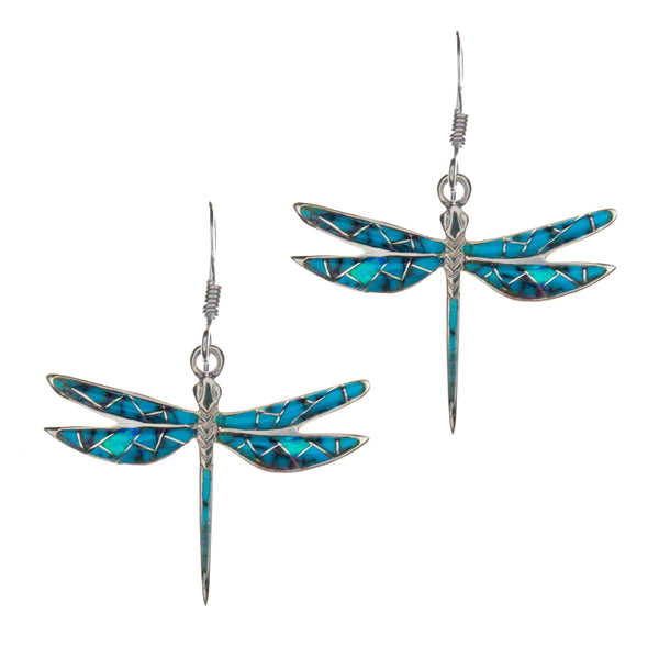 Sterling Silver Inlay Turqouise Dragonfly Earrings