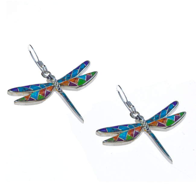 Sterling Silver Inlay Dragonfly Earrings