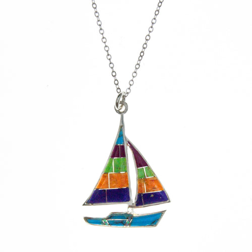 Sterling Silver Inlay Yacht Necklace