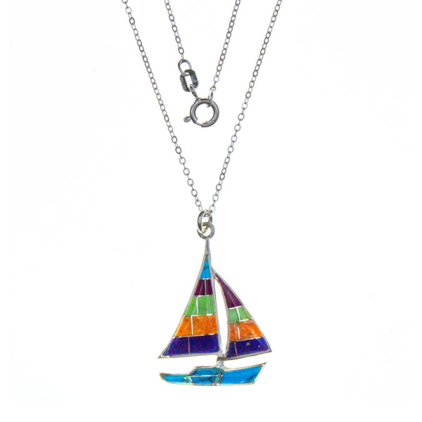 Sterling Silver Inlay Sailboat Necklace