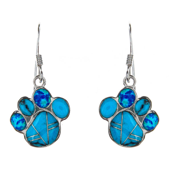 Sterling Silver Inlay Turquoise Paw Earrings