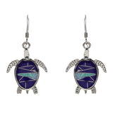 Sterling Silver Inlay Lapis Turtle Earrings