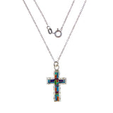 Sterling Silver Inlay Cross Necklace
