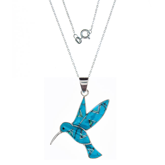 Sterling Silver Inlay Turqouise Hummingbird Necklace