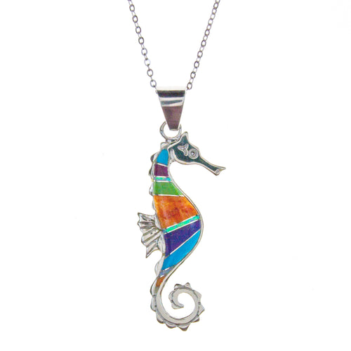 Sterling Silver Inlay Seahorse Necklace