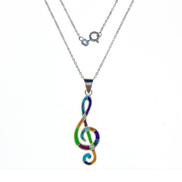 Sterling Silver Inlay Music Clef Necklace
